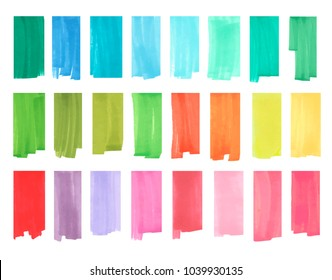 Color vertical highlight stripes, banners drawn with japan markers. Stylish highlight elements for design. Vector highlight marker stroke, spots bright color