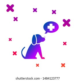 Color Veterinary clinic symbol icon isolated on white background. Cross with dog veterinary care. Pet First Aid sign. Gradient random dynamic shapes. Vector Illustration