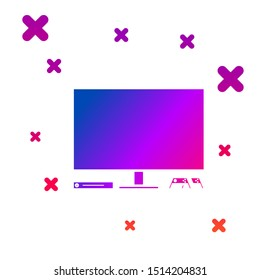 Color Video game console icon isolated on white background. Game console with joystick and lcd television. Gradient random dynamic shapes. Vector Illustration