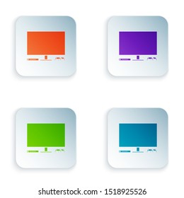 Color Video game console icon isolated on white background. Game console with joystick and lcd television. Set icons in colorful square buttons. Vector Illustration