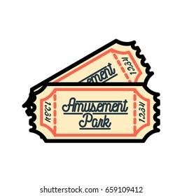 Color vintage Amusement park emblem.