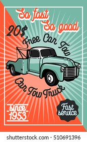 Color vintage car tow truck poster