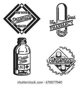 Color vintage pharmacy emblems