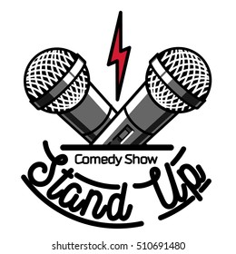 Color vintage Stand up comedy show emblem
