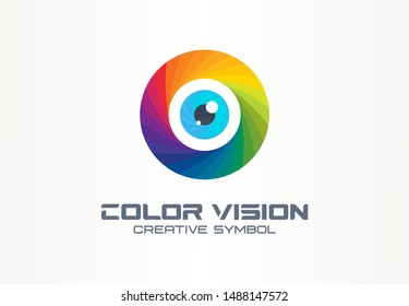 Color vision, circle eye creative symbol concept. Colorful iris lens, security, rainbow abstract business logo idea. Focus, spectrum icon. Corporate identity logotype, company graphic design tamplate