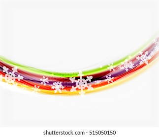 Color wave line with snowflakes, winter vector business background template