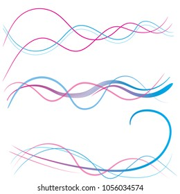 Color waves with brush style. Pink , blue wavy Wave lines banner. Abstract wavy stripes on a white background isolated. Creative line art. Vector illustration EPS 10. Design elements for web design.