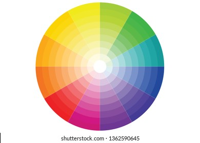 color wheel with all colors and gradients on a white background