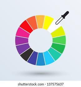 Color wheel or color circle isolated  on gray background. Vector illustration.