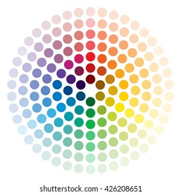 Color wheel composed of circles on white