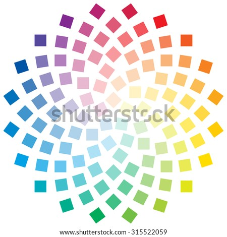 Color Wheel Composed Square Elements On Stock Vector Royalty Free