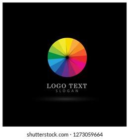 Color Wheel Logo. Symbol & Icon Vector Template.