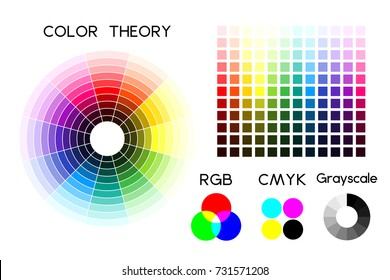 Color wheel and color palette. RGB and CMYK schemes. Vector illustration