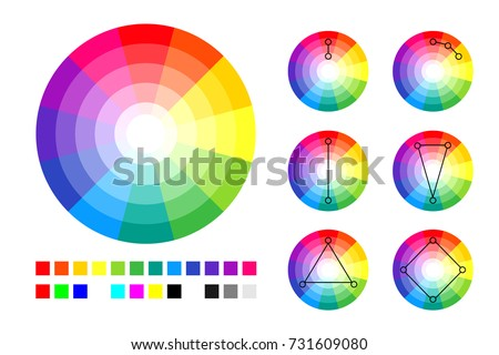 Color Wheel Color Schemes Rgb Cmyk Stock Vector Royalty Free