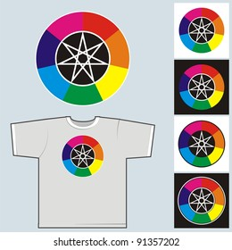 Color wheel. Seven colors of a rainbow as a symbol of seven planets of a classical astrology.