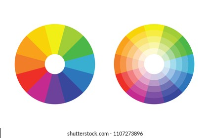 color wheel with twelve colors in gradiations