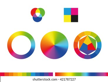 Color wheels and color palette. Vector illustration