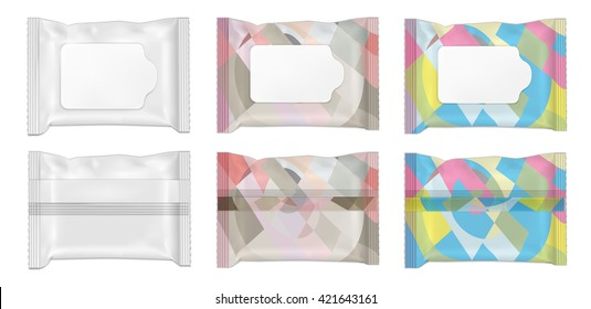 Color and white wet wipes package with flap.