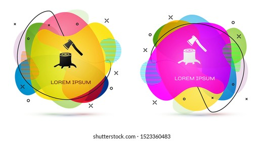 Color Wooden axe in stump icon isolated on white background. Lumberjack axe. Axe stuck in wood. Abstract banner with liquid shapes. Vector Illustration