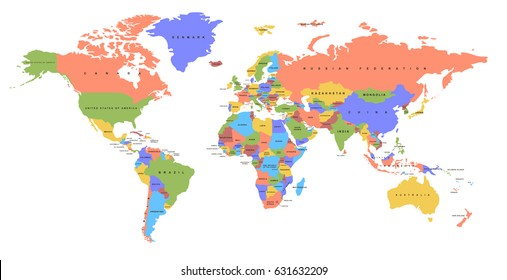 World map with countries stock vectors images vector art color world map with the names of countries political map every country is isolated gumiabroncs Choice Image