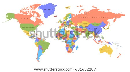 Map Of Earth Countries.Color World Map Names Countries Political Stock Vector Royalty Free