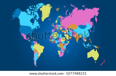 Color World Map Vector Stock Vector Royalty Free 1077488231
