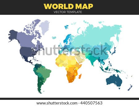 Color World Map Vector Illustration Empty Template Without Country Names Text Isolated On White
