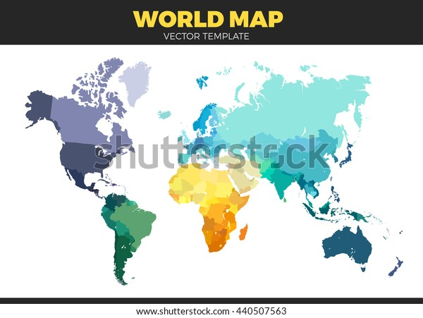 Farve Verdenskort Vector Illustration Tomme Skabelon Lagervektor