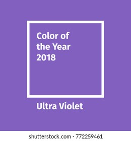 Color of the year 2018. Color trend palette. Include swatch Ultra Violet. Vector illustration for advertising, blog posts and other