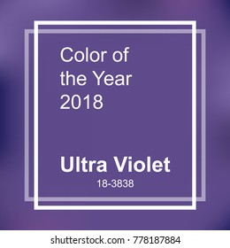 Color of the year 2018. Ultra Violet trendy background with square frame