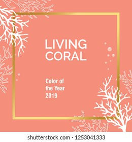 Color of the year 2019 - Living Coral. Living Coral swatch. Vector illustration