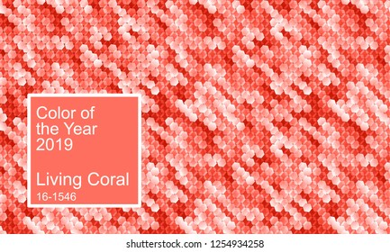Color of the year 2019. Living coral color abstract digital vector background