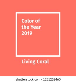 Color of the year 2019. Color trend palette. Include swatch Living Coral. Vector illustration for advertising, blog posts and other