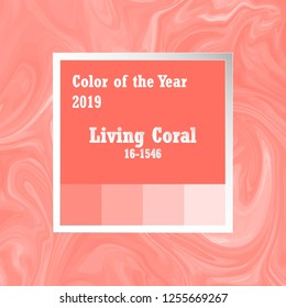 Color of the year 2019. Trend palette. Swatch Living Coral background with marble pattern texture. 16-1546 TCX for Fashion, Textiles, Soft home product.