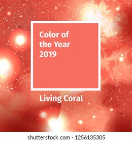 Color of the year 2019. Color trend palette. Swatch Living Coral color background with galaxy space, starry cosmos. Vector illustration with solar system