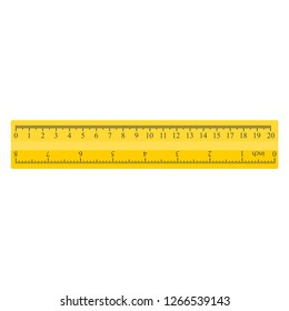 Color yellow measuring ruler, 20 centimeters and 8 inch, stationery vector