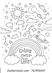 Color your life. Space. Inspirational quote. Icons isolated. Kawaii background. Cute vector artwork. Black and white. Coloring book page for adult and kid. Set collection. T-shirt print, greeting card