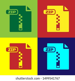 Color ZIP file document. Download zip button icon isolated on color background. ZIP file symbol.  Vector Illustration