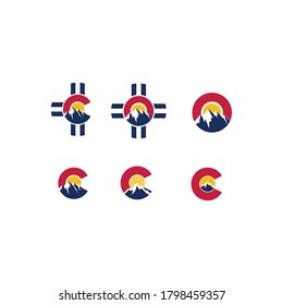 Colorado adventure icon set. Creative colorado peaks vector
