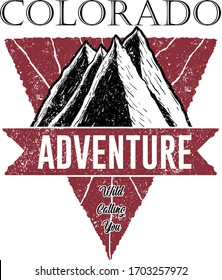 Colorado Adventure Logo, Mountain Illustration, Outdoor Adventure . Vector Graphic