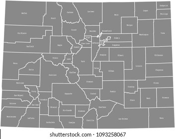 Colorado county map vector outline gray background. Colorado state of United States of America, USA, county map with counties names labeled and highly detailed borders