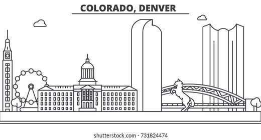 Colorado, Denver architecture line skyline illustration. Linear vector cityscape with famous landmarks, city sights, design icons. Landscape wtih editable strokes