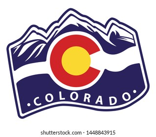 colorado emblem flag with aspen mountain illustration
