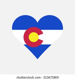 Colorado flag heart . Love to country and state. Vector illustration EPS8