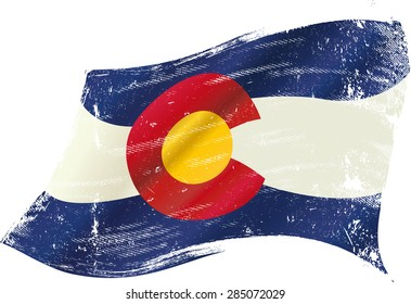 Colorado grunge flag. A flag of Colorado with a grunge texture in the wind