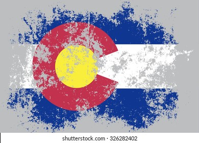 Colorado grunge,damaged,scratch,old style state flag.