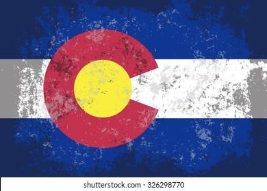 Colorado grunge,scratch,damaged,old style state flag.