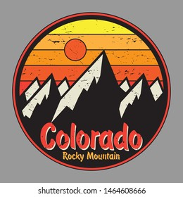 Colorado label or stamp with mountains. Grunge t-shirt print. Vector illustration