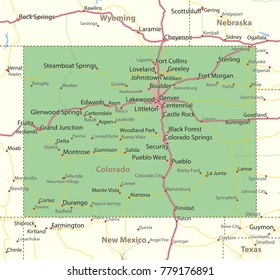 Map Of Texas New Mexico And Colorado.Highway Map Colorado Images Stock Photos Vectors Shutterstock