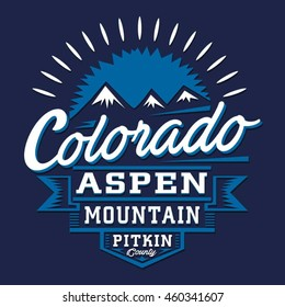 Colorado mountain typography, t-shirt graphics, vectors